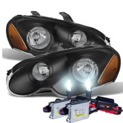 HID Xenon + 2003-2005 Chrysler Sebring Coupe Replacement Crystal Headlights - Black