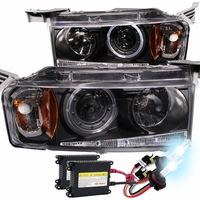 HID Xenon + 2004-2006 Scion xB Angel Eye Halo Projector Headlights - Black