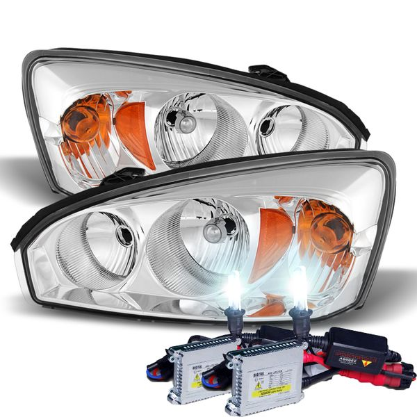 HID Combo 2004-2008 Chevy Malibu Replacement Crystal Headlights - Chrome