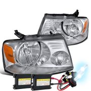 HID Xenon + 2004-2008 Ford F150 / Lincoln Mark LT Crystal Headlights - Chrome