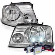 HID Xenon + 2004-2008 Ford F150 / Lincoln Mark LT Euro Style Crystal Headlights - Chrome