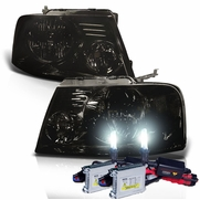 HID Xenon + 2004-2008 Ford F150 / Lincoln Mark LT Euro Style Crystal Headlights - Smoked