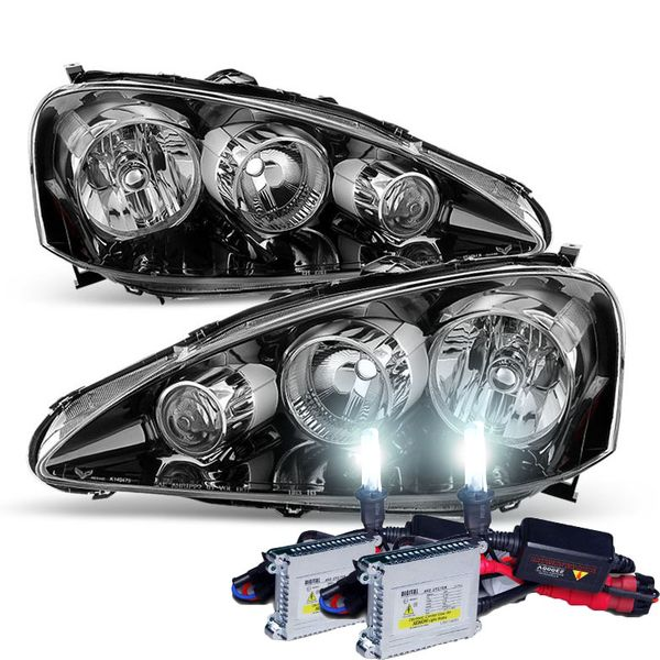 HID Combo 2005-2006 Acura RSX Crystal Replacement Headlights - Black Amber