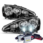 HID Xenon + 2005-2006 Acura RSX Crystal Replacement Headlights - Black Amber