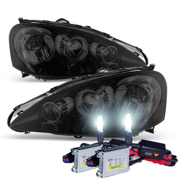 HID Combo 2005-2006 Acura RSX Crystal Replacement Headlights - Black Smoked