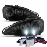 HID Xenon + 2005-2006 Acura RSX Crystal Replacement Headlights - Black Smoked