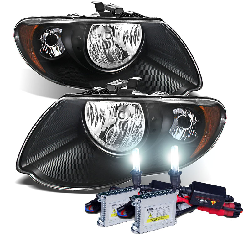 2005 2007 Chrysler Town Country Replacement Crystal Headlights Black Click To Enlarge