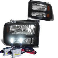 HID Xenon + 2005-2007 Ford F250 F350 Super Duty Crystal Replacement Headlights - Black