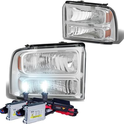 HID Xenon + 2005-2007 Ford F250 F350 Super Duty Crystal Replacement Headlights - Chrome
