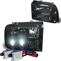 HID Xenon + 2005-2007 Ford F250 F350 Super Duty Crystal Replacement Headlights - Smoked