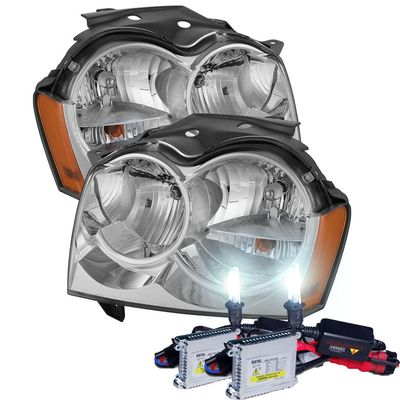 HID Xenon + 2005-2007 Jeep Grand Cherokee Replacement Crystal Headlights - Chrome