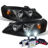 HID Xenon + 2005-2010 Pontiac G6 Replacement Crystal Headlights OE Style - Black