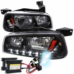HID Combo 2006-10 Dodge Charger SMD LED DRL 1PC Headlights w/ Corner - Black