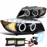 HID Combo 2006-2008 BMW E90 3-Series 4dr [Halogen Model] Halo LED DRL Projector Headlights - Black