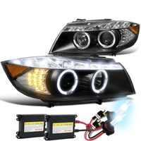 HID Xenon + 2006-2008 BMW E90 3-Series 4dr [Halogen Model] Halo LED DRL Projector Headlights - Black