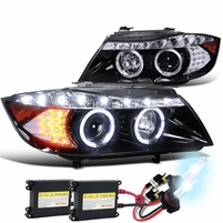 HID Combo 2006-2008 BMW E90 3-Series 4dr [Halogen Model] Halo LED DRL Projector Headlights - Gloss Black