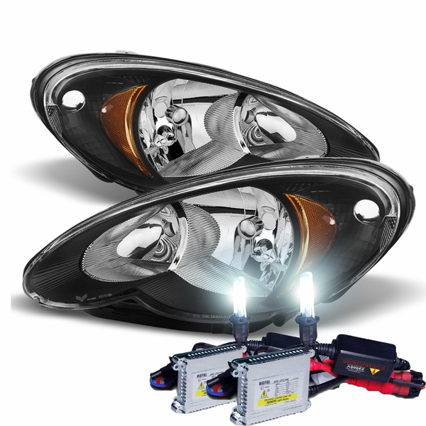 HID Combo 2006-2010 Chrysler PT Cruiser Replacement Crystal Headlights - Black