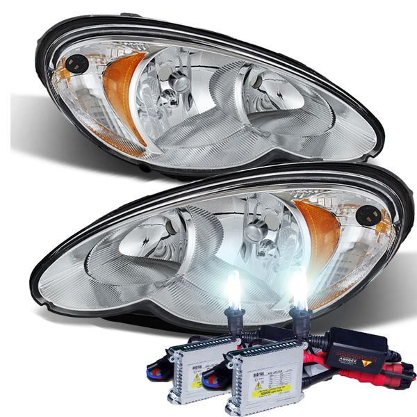 HID Combo 2006-2010 Chrysler PT Cruiser Replacement Crystal Headlights - Chrome