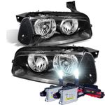 HID Xenon + 2006-2010 Dodge Charger [Halogen Model] Replacement Crystal Headlights + Corner Lens - Black