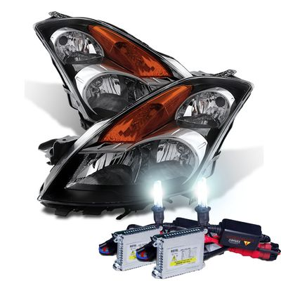 HID Xenon + 2007-2009 Nissan Altima [Sedan Only] Replacement Crystal Headlights - Black