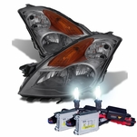 HID Xenon + 2007-2009 Nissan Altima [Sedan Only] Replacement Crystal Headlights - Smoked