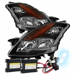 HID Xenon + 2008-2009 Nissan Altima [Coupe Only] Replacement Crystal Headlights - Black