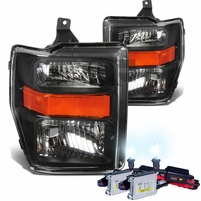 HID Combo 2008-2010 Ford F250 F350 SuperDuty Crystal Replacement Headlights - Black