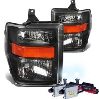 HID Xenon + 2008-2010 Ford F250 F350 SuperDuty Crystal Replacement Headlights - Black