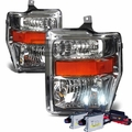 HID Combo 2008-2010 Ford F250 F350 SuperDuty Crystal Replacement Headlights - Chrome