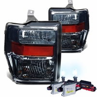HID Combo 2008-2010 Ford F250 F350 SuperDuty Crystal Replacement Headlights - Smoked