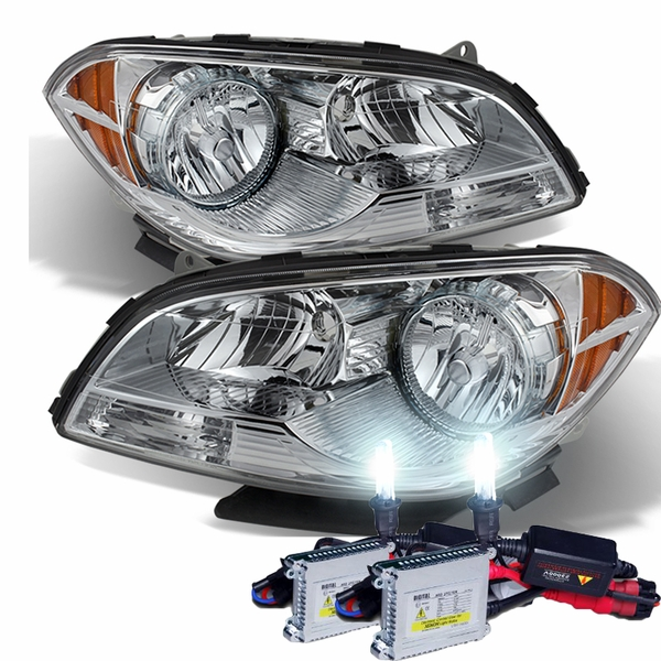 HID Combo 2008-2012 Chevy Malibu Replacement Crystal Headlights - Chrome