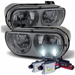 HID Xenon + 2008-2013 Dodge Challenger [Halogen Model] Replacement Crystal Headlights - Smoked