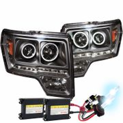 HID Xenon + 2009-2013 Ford F-150 CCFL Angel Eye Halo + LED Strip Projector Headlights - Black