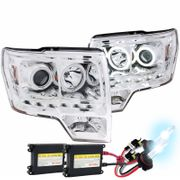 HID Xenon + 2009-2013 Ford F-150 CCFL Angel Eye Halo + LED Strip Projector Headlights - Chrome
