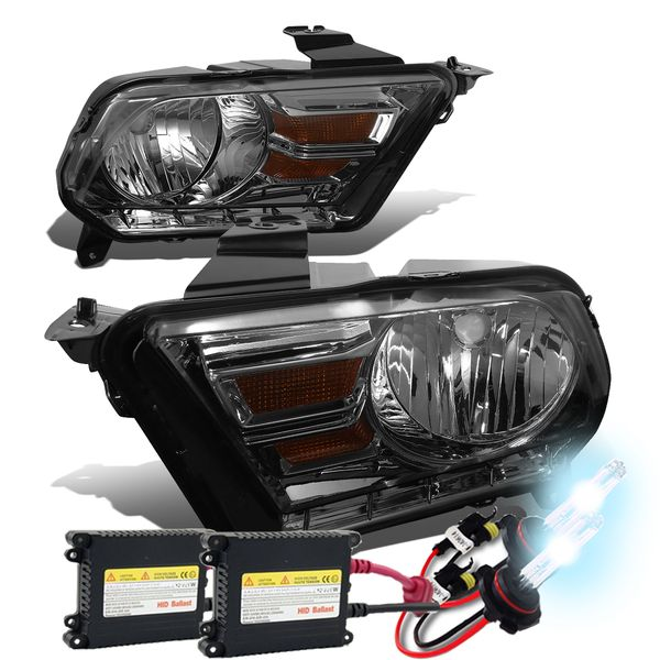 HID Xenon + 2010-14  Ford Mustang S197 Pair of Headlight & Corner Light (Smoked Housing / Amber Reflector)