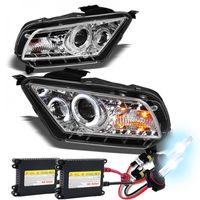 HID Xenon + 2010-2013 Ford Mustang Angel Eye Halo & LED Projector Headlights - Chrome