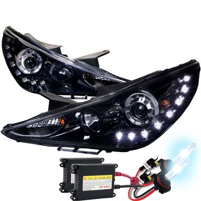 HID Xenon + 2011-2014 Hyundai Sonata SMD LED DRL Projector Headlights - Gloss Black