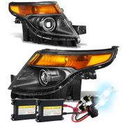 HID Xenon + 2011-2015 Ford Explorer Replace Projector Headlights - Black Amber