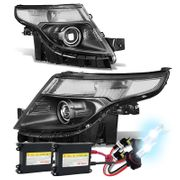 HID Xenon + 2011-2015 Ford Explorer Replace Projector Headlights - Black Clear