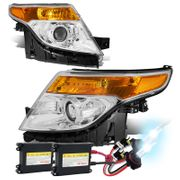HID Xenon + 2011-2015 Ford Explorer Replace Projector Headlights - Chrome Amber