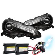 HID Xenon + 2012-2014 Scion FR-S FRS JDM Style LED DRL Strip Projector Headlights - Black