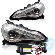 HID Xenon + 2012-2014 Scion FR-S FRS JDM Style LED DRL Strip Projector Headlights - Chrome