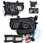 HID Xenon + 2014-16 Jeep Cherokee [Halogen Model] LED DRL Projector Headlights - Black