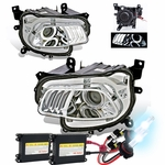 HID Xenon + 2014-16 Jeep Cherokee [Halogen Model] LED DRL Projector Headlights - Chrome