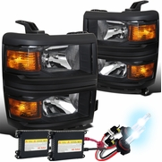 HID Combo 2014-2015 Chevy Silverado 1500 Pickup Replacement Headlights - Black