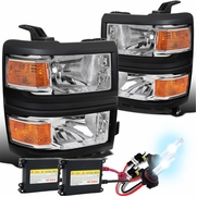 HID Combo 2014-2015 Chevy Silverado 1500 Pickup Replacement Headlights - Chrome