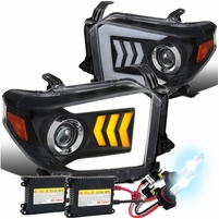 HID Xenon + 2014-2019 Toyota Tundra LED Sequential Signal Projector Headlights Black