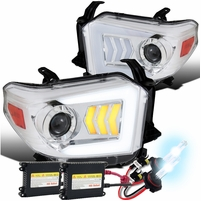 HID Xenon + 2014-2019 Toyota Tundra LED Sequential Signal Projector Headlights Chrome