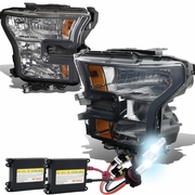 HID Xenon + 2015-17 Ford F150 Pickup Crystal Replace Headlights - Smoked