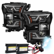 HID Xenon + 2015 2016 2017 Ford F150 LED Light Tube DRL Projector Headlights Black